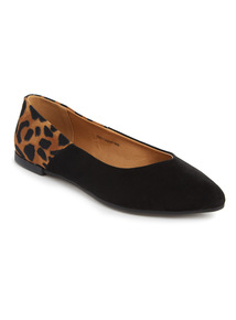 Black Leopard Print Pointed Shoes