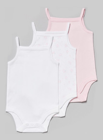 3 Pack Multicoloured Strappy Bodysuits (Tiny Baby-36 months)