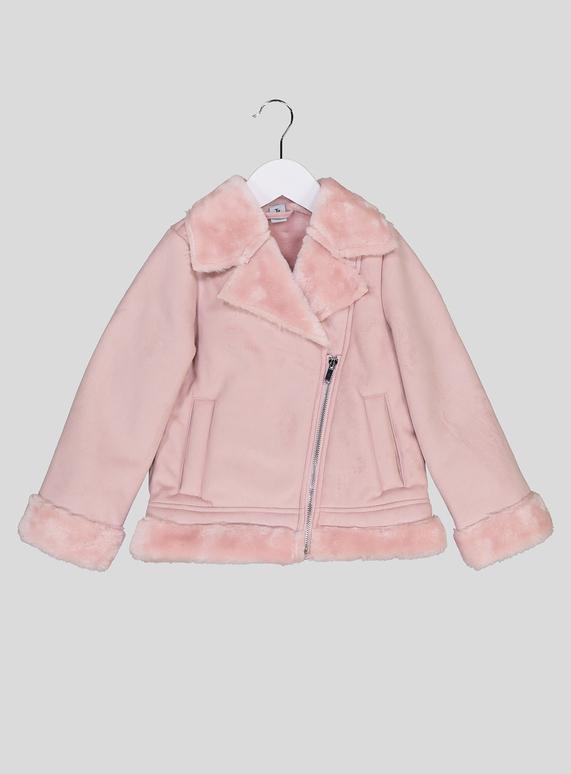 b7b4709cd5b Kids Dusky Pink Faux Fur Trimmed Jacket (3 - 14 years) | Tu clothing