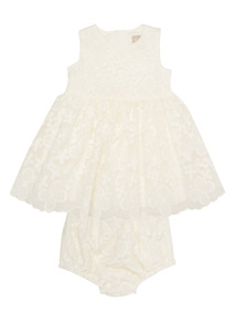 Cream Floral Organza Dress With Knickers (0 - 24 months)
