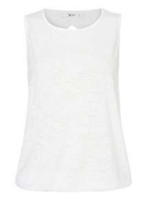 White Burnout Bubble Hem Vest
