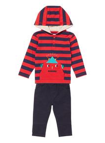 Boys Red Stripe Hoody & Trouser Set (0-24 months)