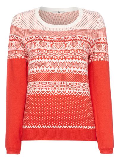 Womens Red Winter Heart Fairisle Jumper | Tu clothing