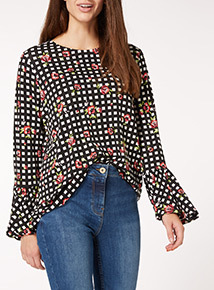 Multicoloured Check Floral Top