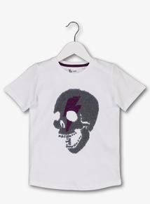 d55cf48b White Sequin Skull Short Sleeve T-Shirt (4-14 Years)