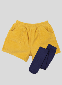 Yellow Cord Shorts And Tights set (9 Months - 6 Years)
