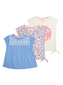Girls Multicoloured Patterned Tees 3 pack (9 months - 6 years)