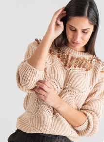 Premium Natural Sequin Embroidery Jumper