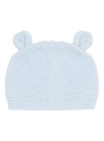 Blue Knitted Bear Hat (0-24 months)