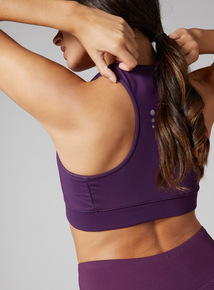 Purple Cross Over Yoga Crop Top