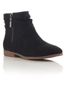 Black Faux Suede Ankle Boots