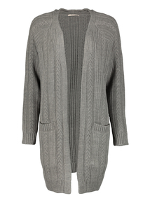 Dark Grey Cable Knit Cardigan