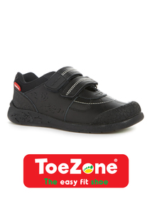 Black Leather ToeZone Dinosaur Shoes