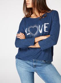 Glitter 'Love' Slogan Knitted Top