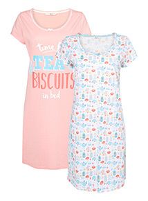 2 Pack Multicoloured Tea Nightshirts