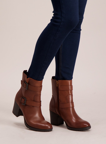 Premium Tan Leather Double Buckle Ankle Boots