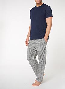 Navy Short Sleeve Tee and Check Pyjama Set