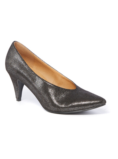 Metallic High Cut Court Heel