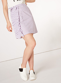 GFW Striped Ruffle Skirt