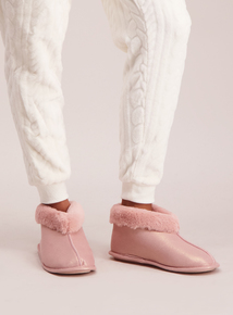 Pink Shimmer Slipper Boots