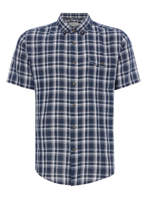 Navy Check Linen Shirt