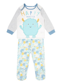 Multi  Happy Monster Pyjama Set (0-24 months)
