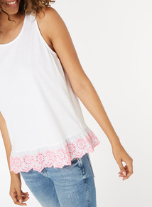 Schiffly Embroidered Hem Vest Top