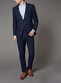 Navy Linen Herringbone Suit Jacket