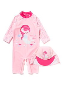 Pink Mermaid Sunsafe and Hat Set (0-24 months)