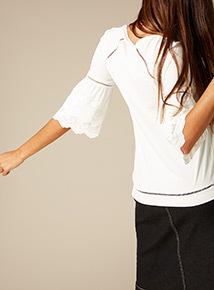 Premium Broderie Sleeve Top