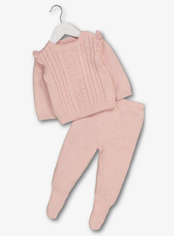 81c7e0e4a Baby Light Pink Cable Knit Jumper   Bottoms Set (Newborn-12 Months ...