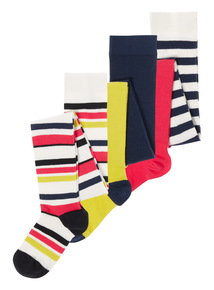 Multicoloured Striped Tights 3 Pack