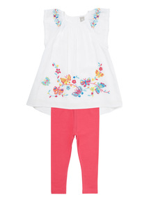 Girls White Floral Dress and Leggings Set (9 months - 6 years)