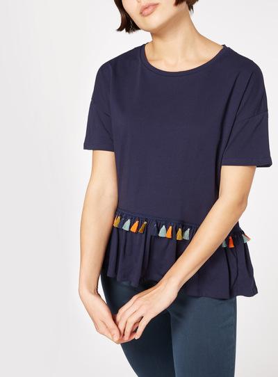 Navy Woven Hem Tassel Trim T-Shirt
