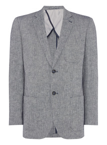 Blue Herringbone Linen Blend Jacket