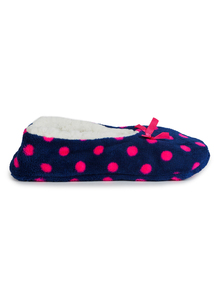 Blue & Pink Spotted Ballerina Slippers