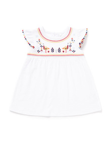 White Jersey Embellished Top (0-24 months)