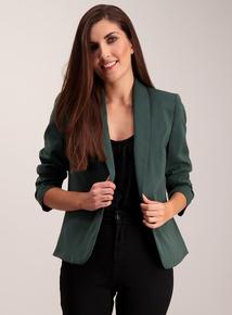 Dark Green Ruched Sleeve Blazer