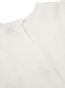 White Pom Pom Sleeve Top (3-14 years)