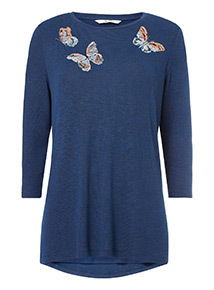 Navy Butterfly Embroidered Knitlook Top