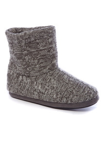 Grey Cable Knit Slipper Boots