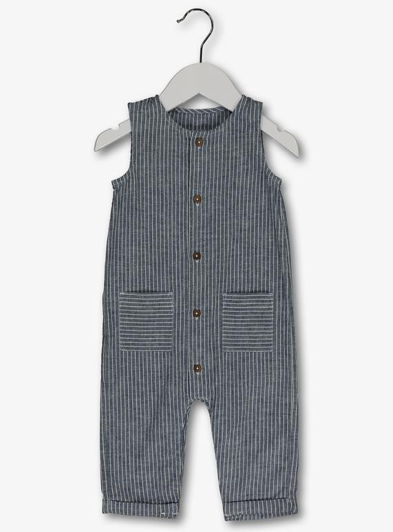 2babb317a8d Baby Blue Stripe Woven Sleeveless Romper (0-24 months)