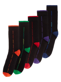 Black Vertical Design Stay Fresh Socks 5 Pack