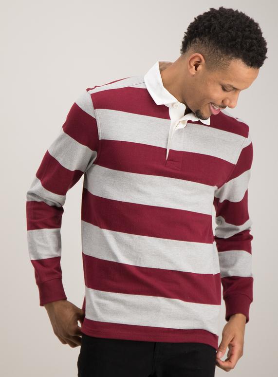 67f7b513dae2 Menswear Burgundy   Grey Stripe Rugby Shirt