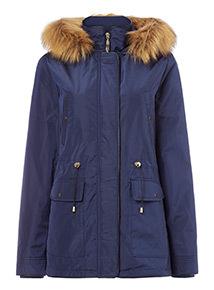 Navy Short Parka Coat