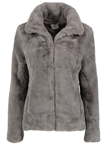 Grey Soft Touch Faux Fur Jacket