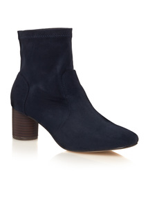 Navy Stretch Ankle Boots