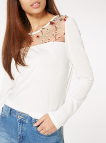 Cream Floral Mesh Embroidered Panel Top