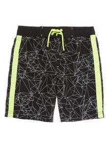 Boys Black Geo Shorts (3 - 12 years)
