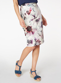 Multicoloured Floral Print Pencil Skirt